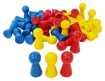 3 colors Big Size Wooden Pawn Game