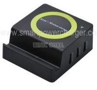 Unviersal qi wireless charger with 3USB prots mobile station