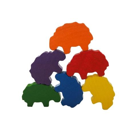 6 Colors Wooden Sheep Family