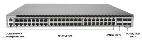 48 Port 2.5GBase‐T L3 with 2*40Gb QSFP+ And 4*25G/10G