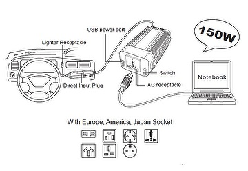 Car adaptor, DC to AC inverter, travel charger