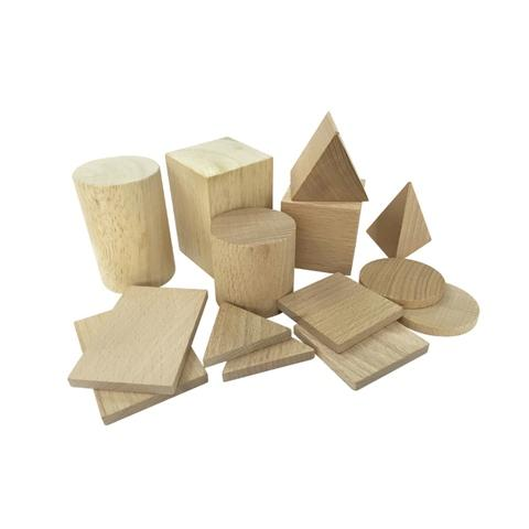 14 Shapes Plain Wood Geo Blocks (3D+2D)