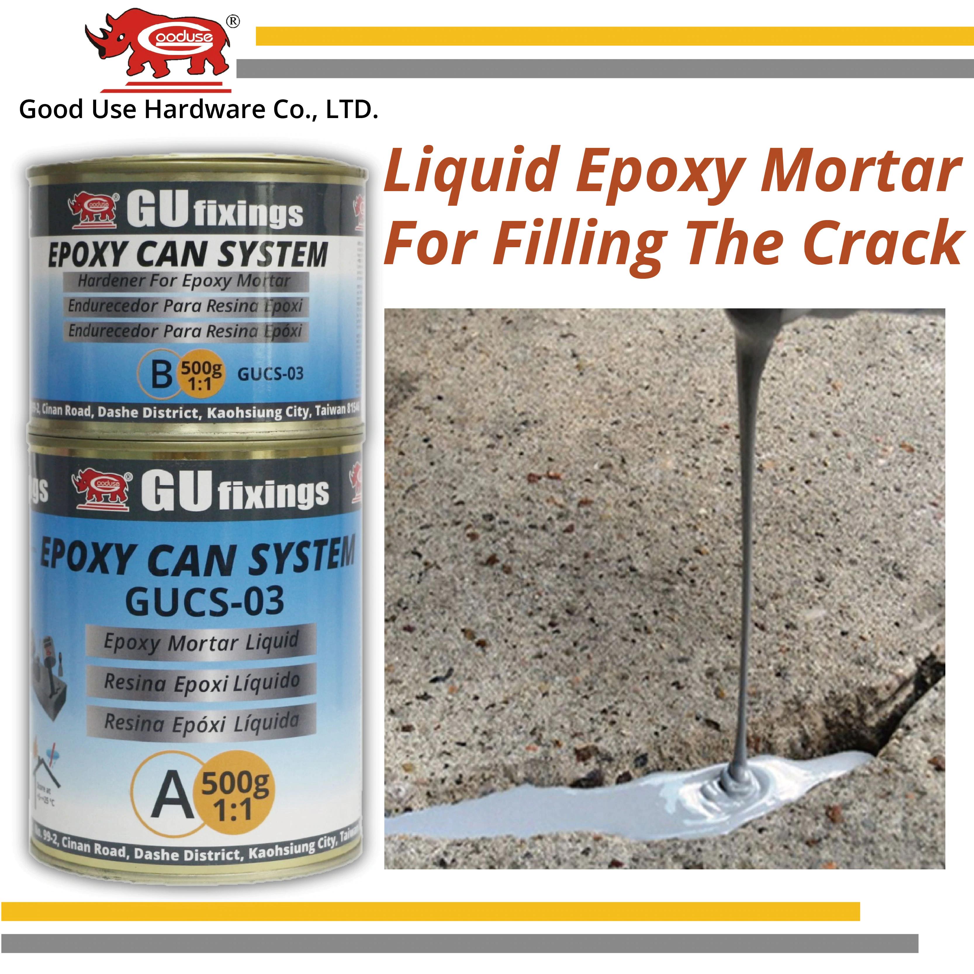 Easy mix liquid filling gray epoxy repair mortar