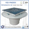 PVC Shower Drains with Square S.S. Snap Strainer