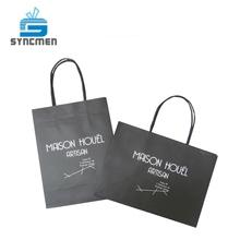 Black color kraft paper bag with twisted handle