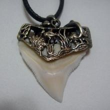 Silver Capped Bull Shark Tooth Pendant