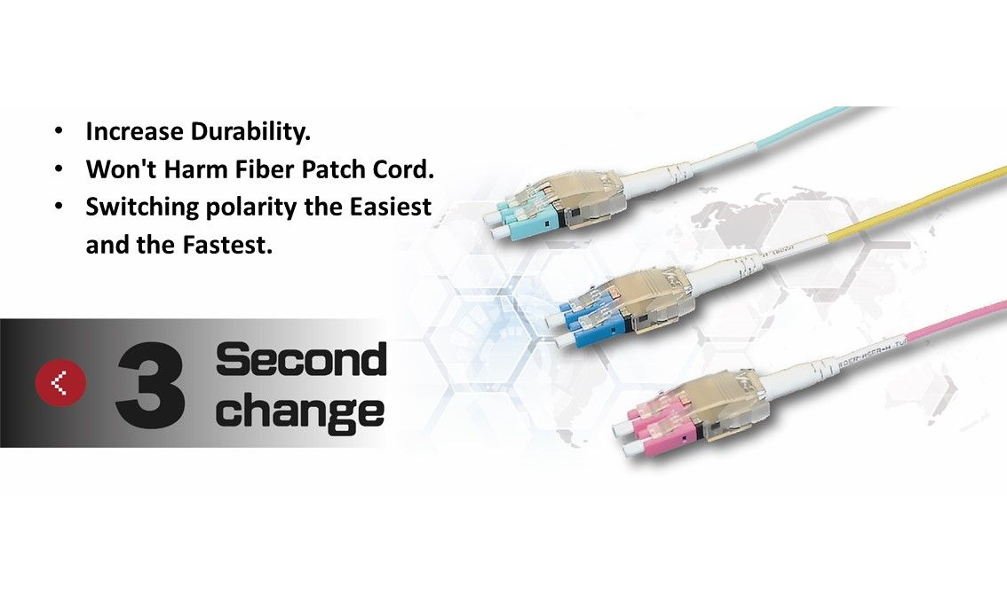 Easy-Ex Multimode OM4 LC to LC Duplex Fiber Patch Cord has an exclusive patent design for quickly change LC polarity and also labour-saving structure design.