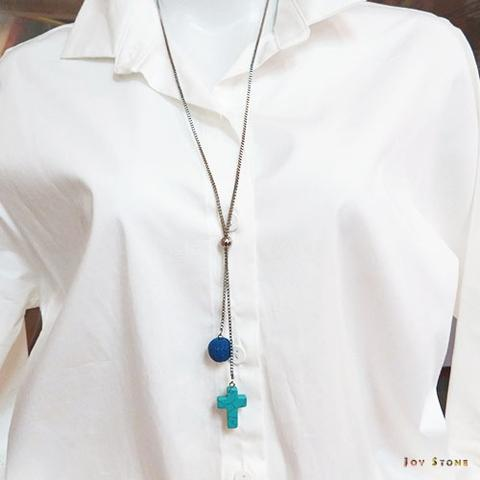 Blue Turquoise Cross Diffuser Necklace