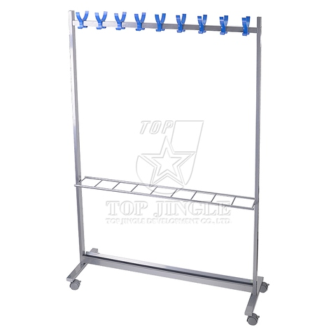 18 Hooks Horizontal Clothes Rack with 9 Umbrella Stand