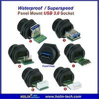 Waterproof Panel Mount Sealed Industrial USB 3.0 A-Type