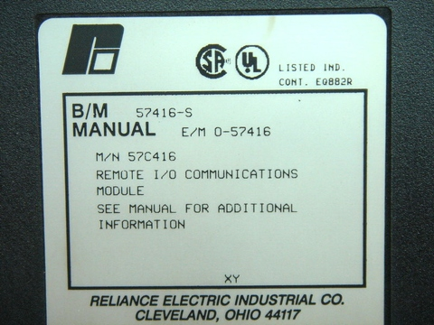 RELIANCE REMOTE I/O COMMUNICATIONS MODULE 57C416 / 57416-S