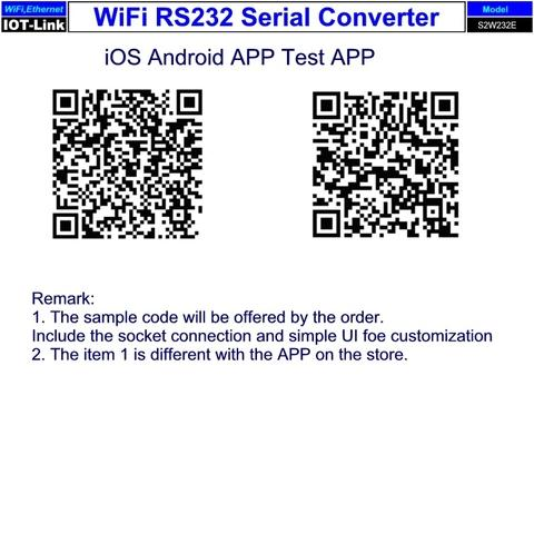 WiFi RS-232 adapter test APP, iOS & Android