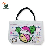 Double-sided Pattern White Canvas Tote Bag Custom Print Taiwan Supplier