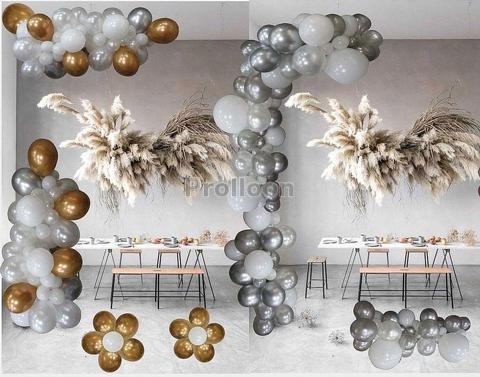 Gold  &Silver balloon garland for X'mas