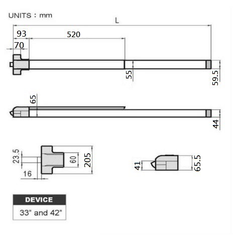 ANSI UL Fire Rated Panic Exit Push Bar