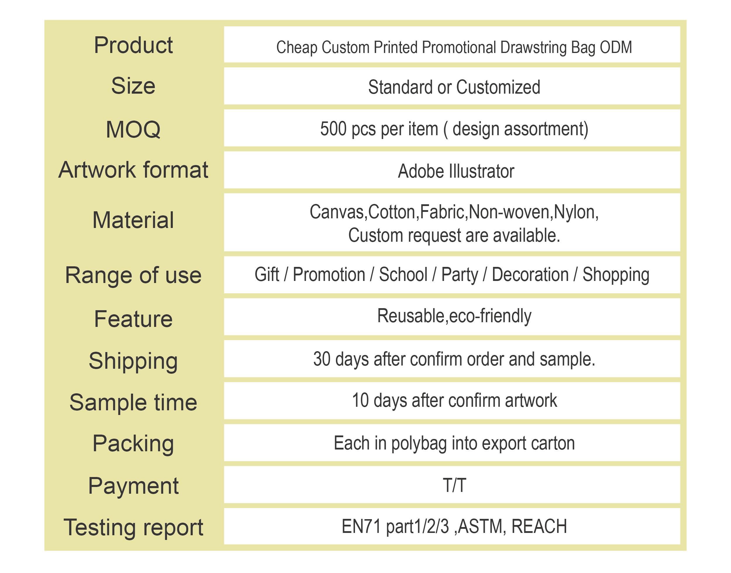 Taiwan Custom Printed Promotional Drawstring Bag | EEWIN