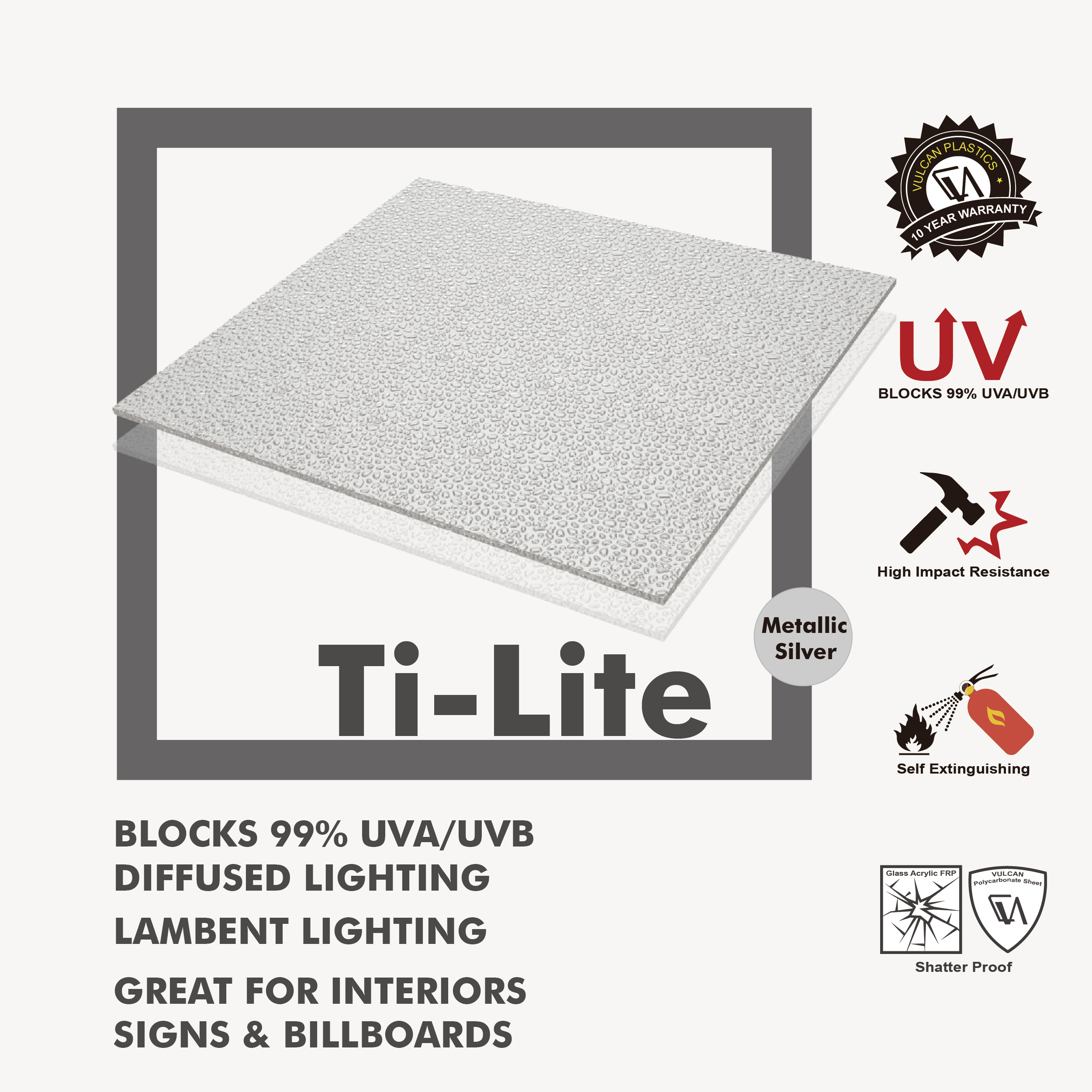 Taiwan VULCAN Ti-Lite Silver SOLID EMBOSSED Polycarbonate