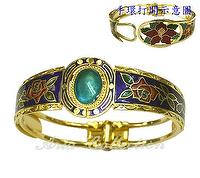 Cloisonne Oval Open Cuff Bangle