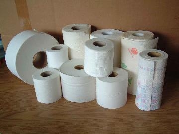 Toilet tissue paper roll converting machine line