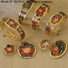 Cloisonne Bangle, Brooch and Earring