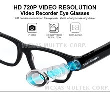 HD 720P Smart Wearable Bluetooth Video Glasses Camera