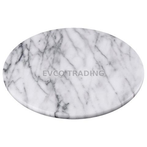 """Natural White Marble 8"""" Round Trivet / Serving Board"""