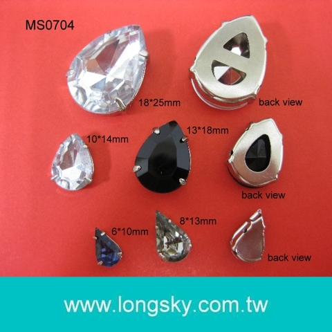 (#MS0704) Tear or Water drop shape acrylic stone button for garments, apparel  accessories button