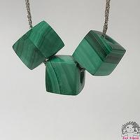 925 Silver Malachite -  8.5mm Cube Beads Pendant Necklace - Craft Jewelry