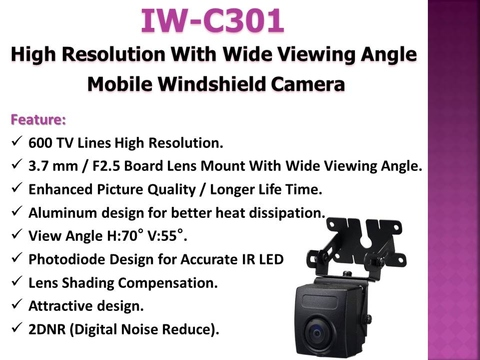 Taiwan IW C301 Sony CCD Wide View Angle Mobile Windshield Camera