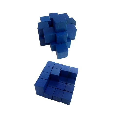 2.54 cm Blue Wood Cube