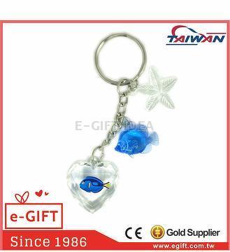 Acrylic Heart Dory Fish Seastar Plaice Keychain
