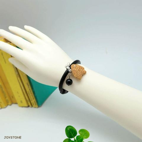 Scented Essential Oil Tropical Fish Black Leather Bracelet