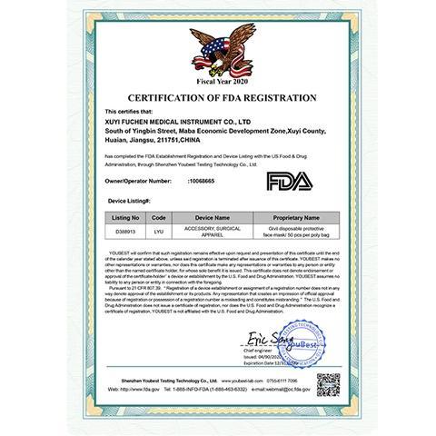 FDA certification of Face Mask