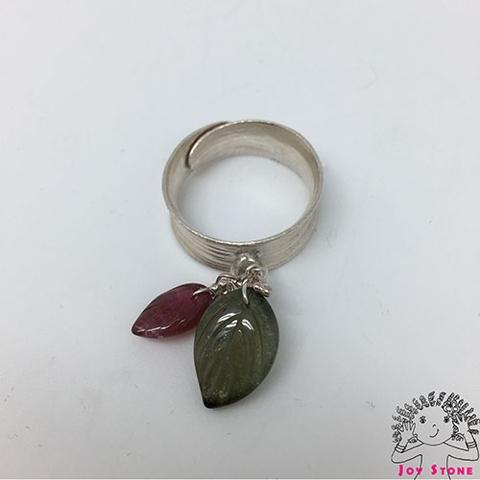 Tourmaline Red Green Leaf Grain Line Ring