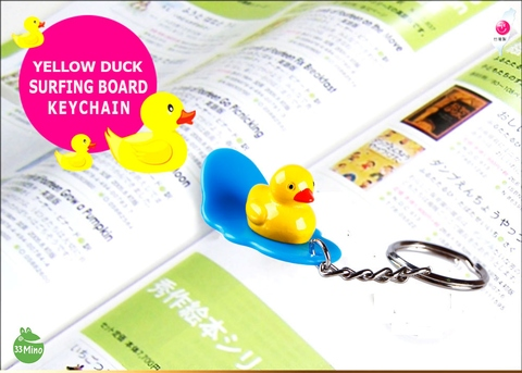 Yellow Duck Surfing Board Key Chain Random Color Delivery