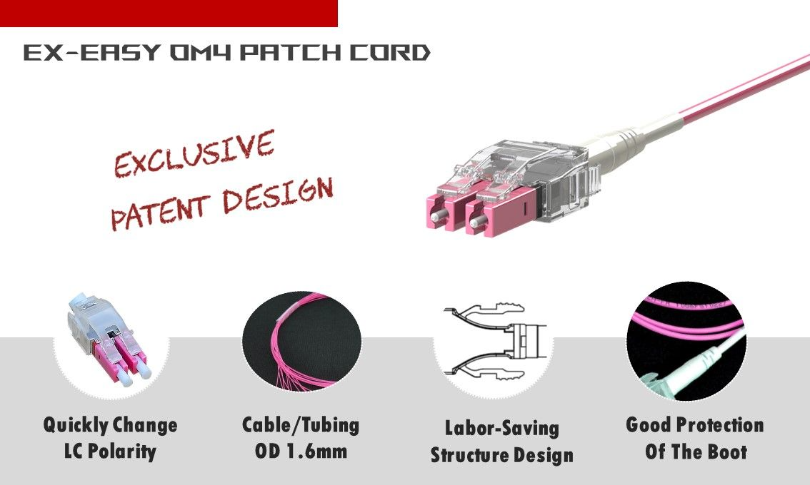 Easy-Exchange polarity Multimode OM4 LC-LC Duplex Fiber Patch Cord only need 3 seconds to change polarity. It won't harm patch cord and increase durability.