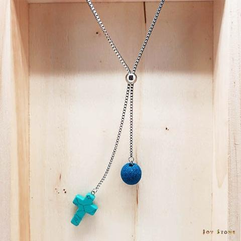 Blue Turquoise Cross Lava Beaded Necklace