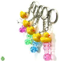 Yellow Duck Character Whistle Keychain Random Color Delivery Lot of 3