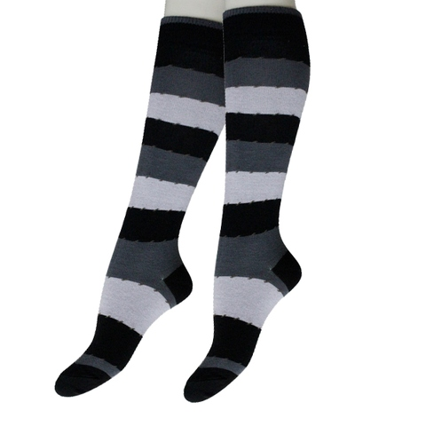 Grey and Black Stripes Thigh High Socks, OEM