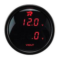 RICO Instrument Dual Gauge Performance Dual Battery Volts Black Face