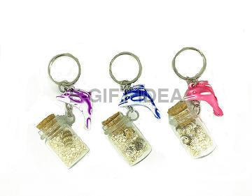 Seashell Bottle Key Chain(with washed dolphins)