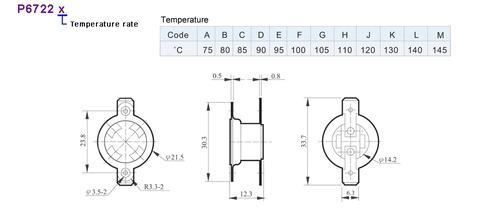 90℃ Thermostat (NC) W/approval, CSA / UL:10A 25V