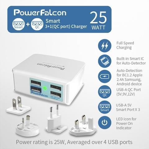 PowerFalcon Multi Port (QC3*1+USB-A*3) USB Charger (with 4-interchangeable AC Plugs EU/AU/UK/US)(3-Pack)