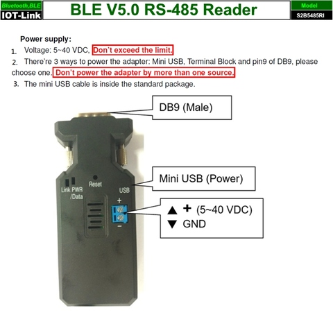 Bluetooth BLE V5.0 Beacon RS485 Reader power input