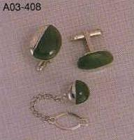 Taiwan Jade Tie pin and Cufflink