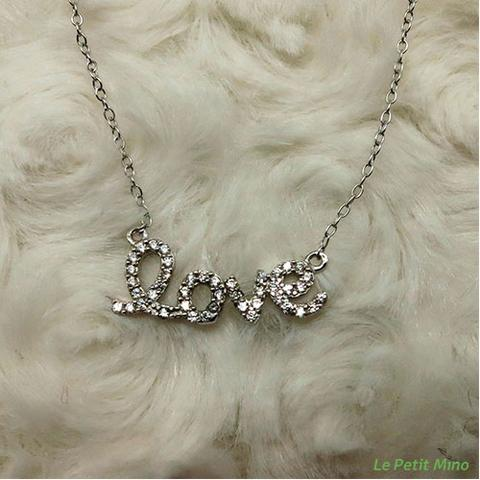 925 Silver Bling Love in Lowercase Pendant Necklace 3