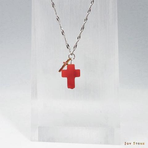 Taiwan Silver Double Cross Necklace Red Onyx Crystal Plus Micro