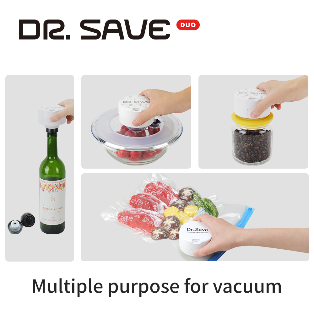 DR. SAVE DUO rechargeable travel vacuum pump can also vacuum for food bags, canisters and vacuum stoppers.