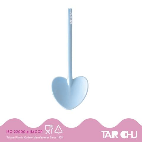9cm PS Cotton Candy Blue Disposable Plastic Heart Shaped Spoon/ Ice Cream Spoon/ Dessert Spoon Made by Taiwan Factory