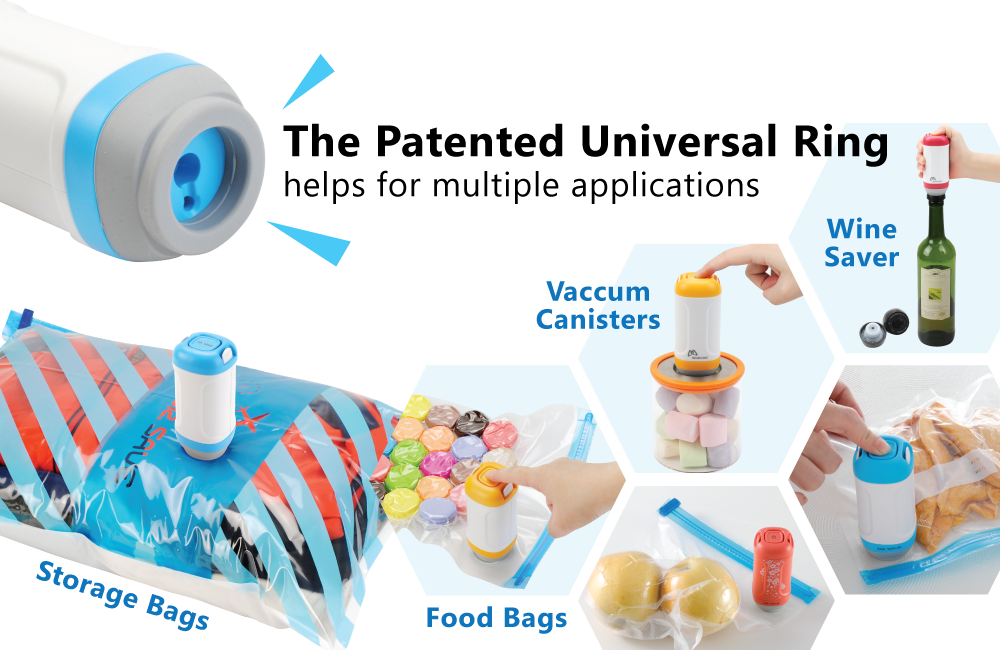 DR. SAVE UNO Handheld Vacuum Sealer's Patented Universal Ring helps for multiple applications.